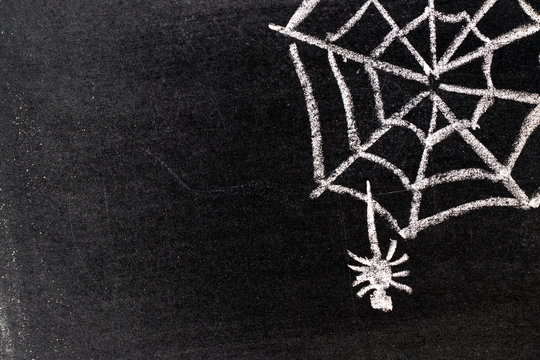 White chalk hand drawing in cobweb with spider shape on blackboard background