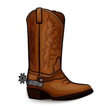 Vector cowboy boot brown design