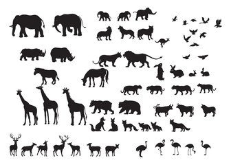 Silhouettes  of wild animals in many types