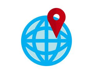 globe marker symbol logo image vector pin locate