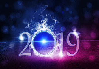 2019 on an abstract bright background with smoke and neon light