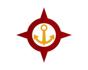 red compass anchor port harbor compass image vector icon logo