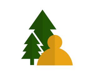 pine man avatar figure silhouette profile image vector icon logo