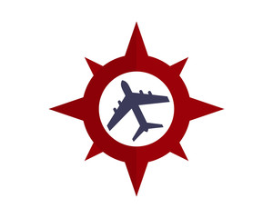 compass plane airport airways airline image vector icon logo