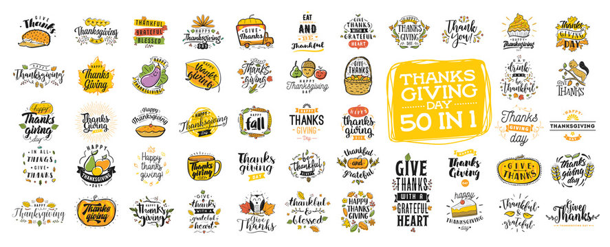 Happy Thanksgiving day typography.