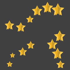 Paper rows of stars in different directions and sizes. Vector illustration for design on a gray background