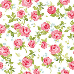 Seamless floral pattern with little red roses, vector illustration