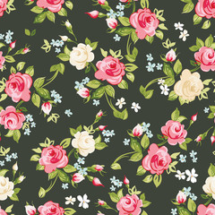 Seamless pattern with pink and white roses on black background, vector illustration