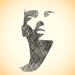 Human head silhouette. Face front view. Elegant silhouette of part of human face. Ink sketch effect