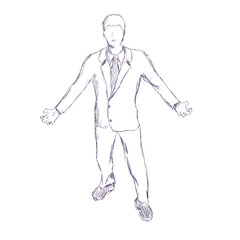 Silhouette of businessman in wizard pose. Sketch by pencil