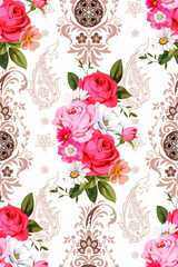 Seamless pattern with indian motives and roses