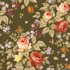 Elegance Colorful texture for decorating pattern. Seamless background with of flowers. Floral vector illustration.