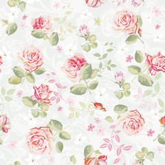 Abstract Elegance seamless floral pattern. Beautiful flowers vector illustration texture with roses.