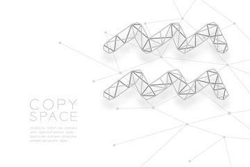 Aquarius Zodiac sign wireframe Polygon silver frame structure, Fortune teller concept design illustration isolated on white background with copy space, vector eps 10