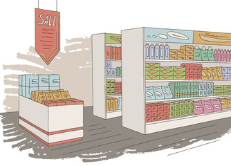 Grocery store shop interior color graphic sketch illustration vector