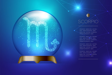 Scorpio Zodiac sign in Magic glass ball, Fortune teller concept design illustration on blue gradient background with copy space, vector eps 10