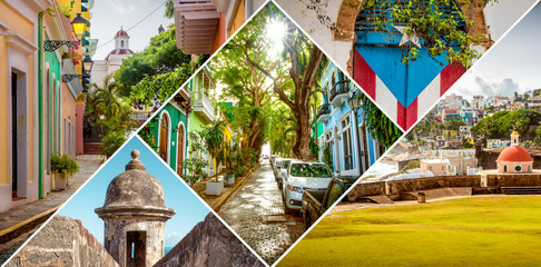 Papiers peints Caraibes Collage of Old San Juan in Puerto Rico