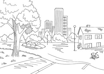 Flood graphic black white landscape city sketch illustration vector