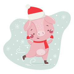 Happy new year greeting card with cute skating pig. Chinese symbol of the 2019 year. Design for print, poster, invitation, t-shirt. Vector illustration.