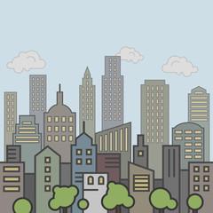 Urban landscape street panorama, skyline city office buildings.