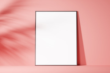 The layout of the poster is white on a pink background, minimalism. Front view. Mock up. 3d rendering