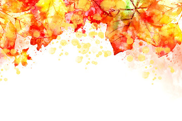 Illustration of fall image. Autumn leaves background with yellow and red leaves. Digital watercolor painting.