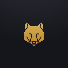 Stylized wolf head icon illustration. Vector glyph, dog animal design with golden color