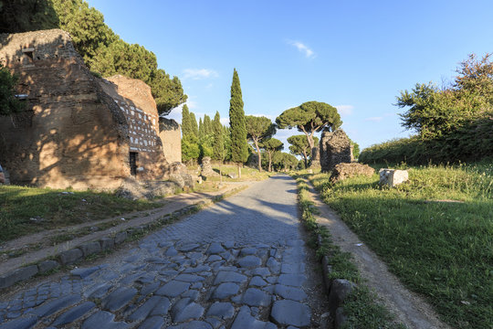 Ruins of the ancient Via Appia (Appian Way) in Rome