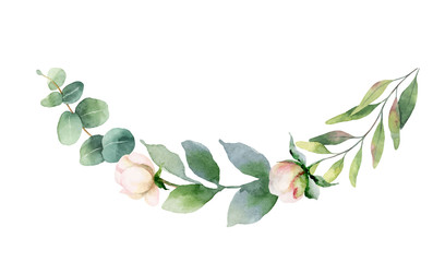 Watercolor vector hand painting wreath of pink flowers and green leaves.