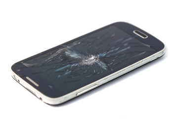 Mobile smartphone with broken screen isolated on white background. crack screen