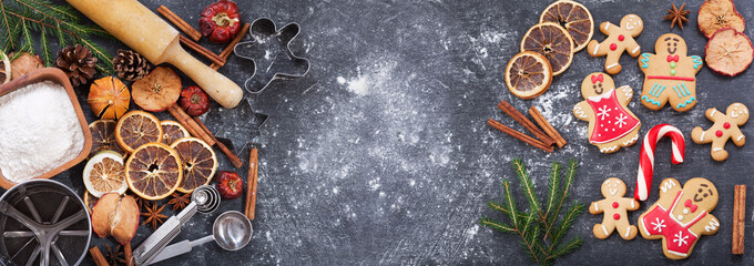 Fototapeta Ingredients for cooking Christmas baking and gingerbread cookies, top view obraz