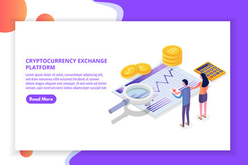 Cryptocurrency mining, exchange, blockchain isometric. Vector illustration.