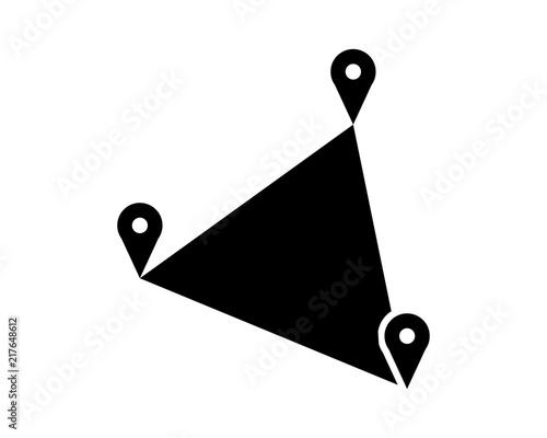 Triangle Marker Map Black Silhouette Pin Locate Path Image Vector