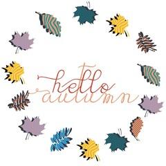 Hello autumn greeting design colorful square background.