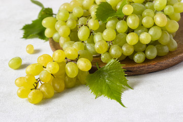 Bunch of green grapes. Fruits of autumn on light grey background with copy space, close-up.