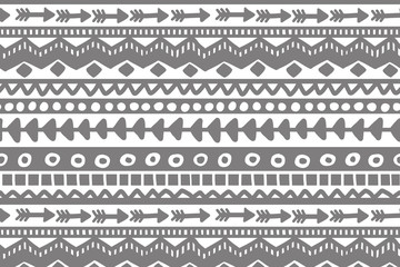 Gray and white geometric background. Ethnic hand drawn pattern