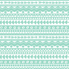Seamless blue and white geometric background. Ethnic hand drawn pattern for wallpaper, cloth, cover, textile