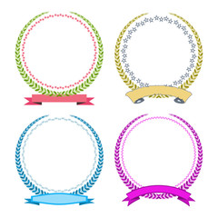 Laurel wreath set. Vector illustration of colored laurel wreaths for rewarding and triumph.
