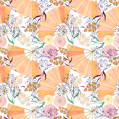 Seamless watercolor pattern with flowers and fans on white background.