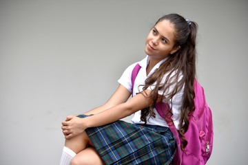 Catholic Female Student Wondering Wearing School Uniform