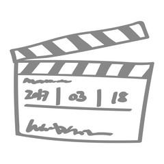 Handgezeichnete Filmklappe in grau