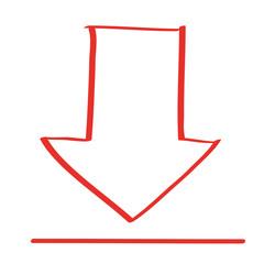Handgezeichneter Download-Pfeil in rot