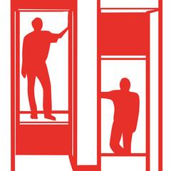 Handgezeichneter Aufzug in rot