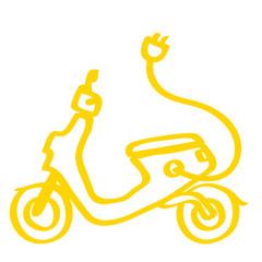Handgezeichneter Elektroroller in gelb