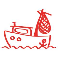 Handgezeichnetes Fischerboot in rot