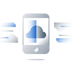 Smartphone screen, cloud technology, storage space access, cloud services