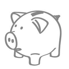 Handgezeichnetes Sparschwein in grau