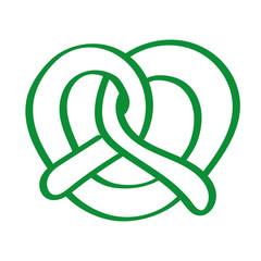 Handgezeichnete Brezel in grün
