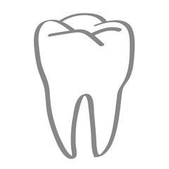 Handgezeichneter Zahn in grau
