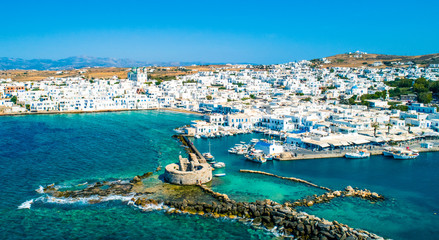 Photo sur Plexiglas Bleu vert Ancient ruins of Venetian castle in the harbor of Naoussa town, view from above, Paros island, Greece